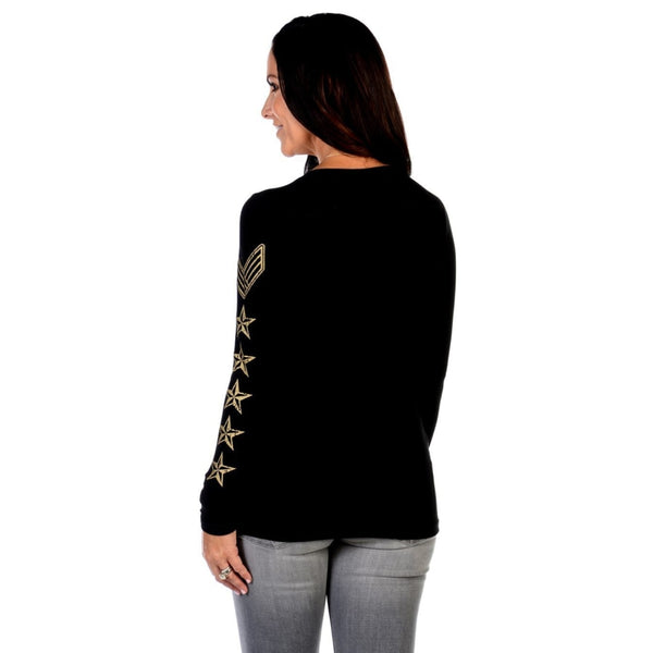Gold Star Chevron Long Sleeve Top - Womens Tops