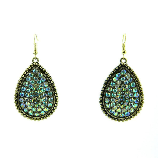 Golden Plating Ab Crystal Teardrop Shape Earring - Accessories