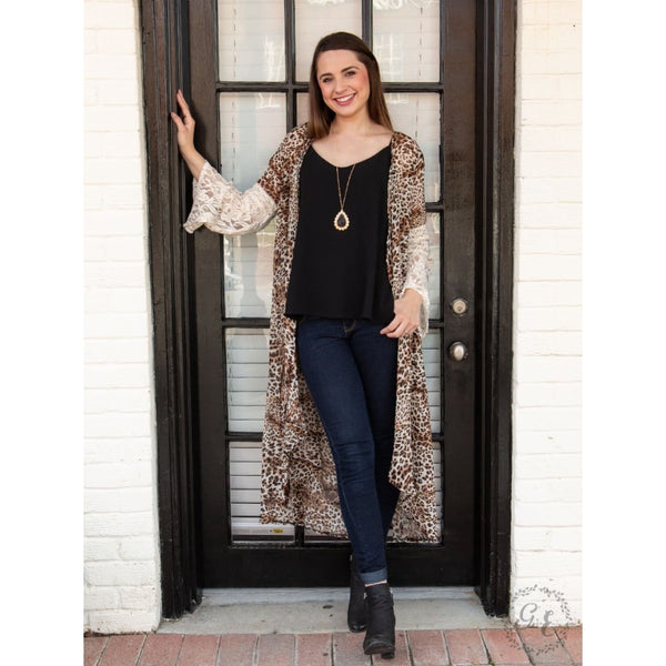 Grace And Emma Dont Toy With Me Leopard Kimono With Lace Sleeves - Womens Outerwear