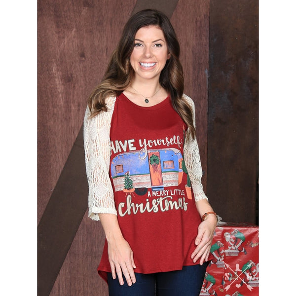 Have Yourself A Merry Little Christmas On Maroon With Cream Lace Sleeves - Womens Tops