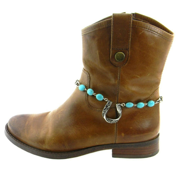 Horse Shoe Boot Chain With Turquoise Beaded Chain - Boot Accessories