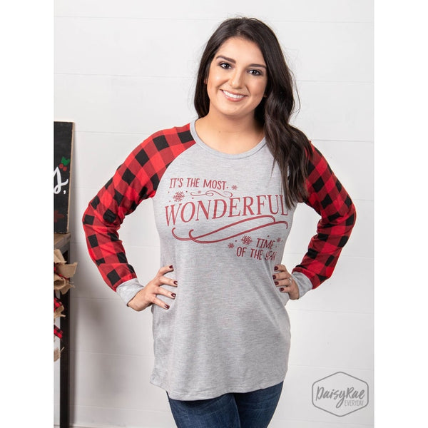 Its The Most Wonderful Time Of The Year On Casual Grey Sweatshirt With Buffalo Plaid Sleeves - Womens Tops