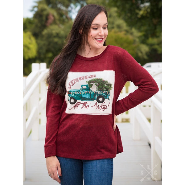 Jingle All The Way Maroon Long Sleeve - Womens Tops