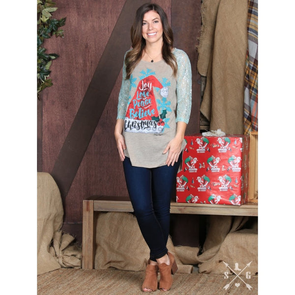 Joy Love Peace Believe Christmas With Mint Lace Sleeves - Womens Tops