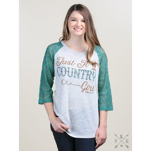 Just A Country Girl On Striped Raglan With Turquoise Lace Sleeves - Womens Tops