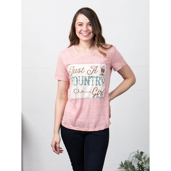 Just A Country Girl Patch On Dusty Pink Tee - Womens Tops