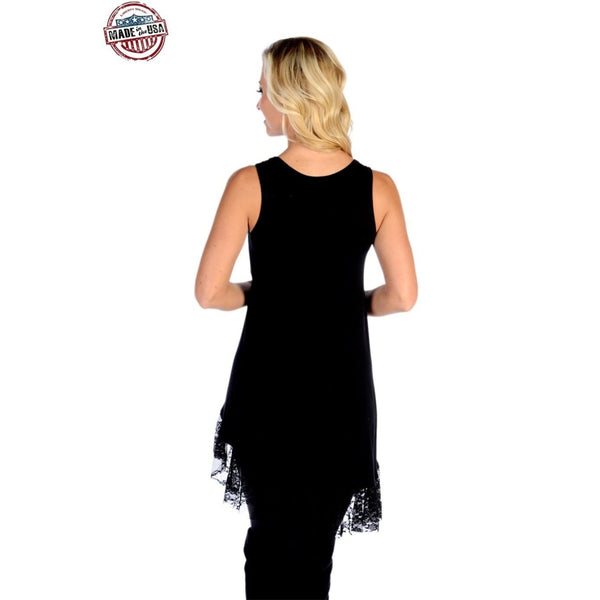 Lacy Laurel Tank Dress With Lace Hem In Black - Womens Tops