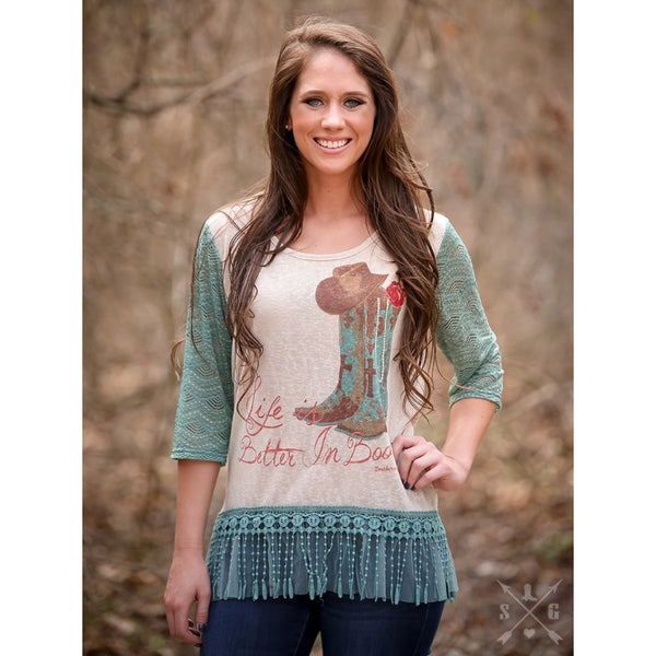 Life Is Better In Boots On Tan With Teal Lace Sleeves & Tassel Trim - Womens Tops