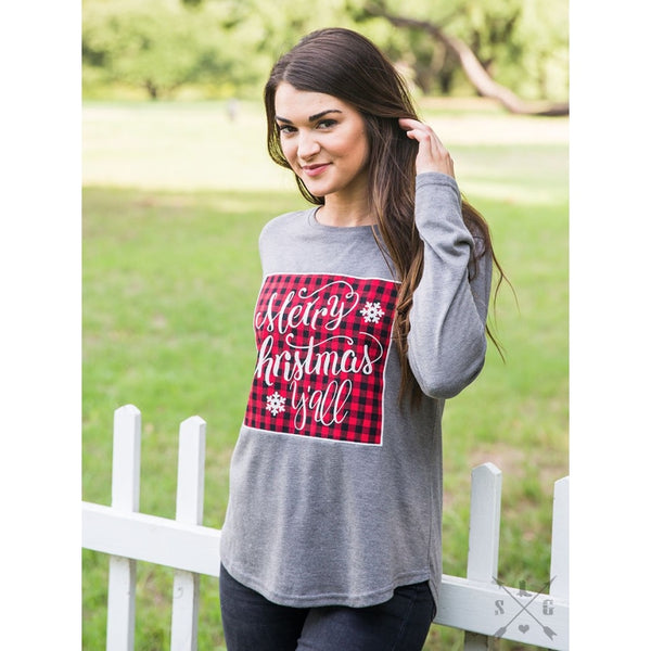 Merry Christmas Yall Buffalo Plaid Patch On Grey Long Sleeve Tee - Womens Tops