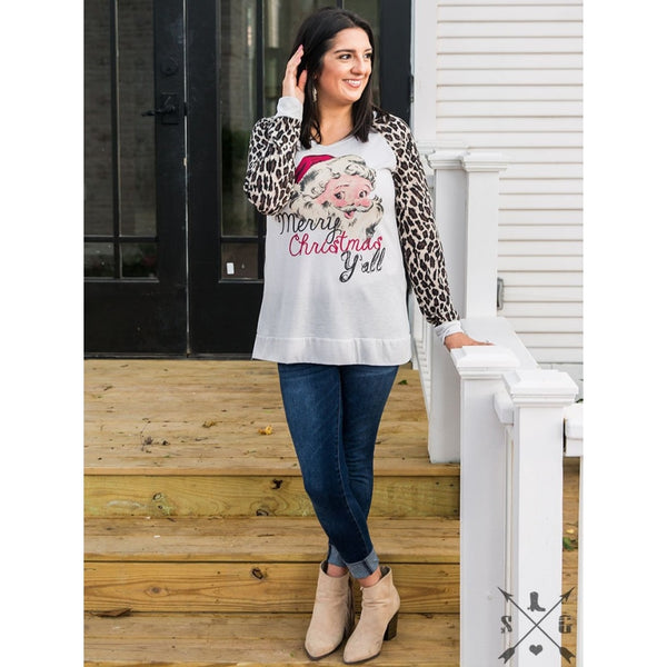 Merry Christmas Yall On Grey Tee With Leopard Sleeves - Womens Tops