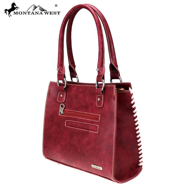 Montana West Aztec Collection Satchel In Burgundy - Bags & Purses