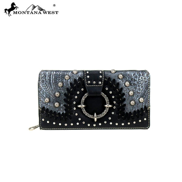 Montana West Concho Collection Secretary Style Wallet - Black - Accessories
