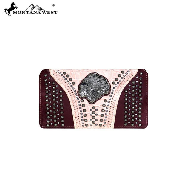 Montana West Concho Collection Secretary Style Wallet - Pink - Bags & Purses