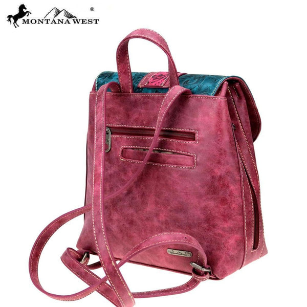 Montana West Embossed Collection Backpack In Hot Pink - Bags & Purses