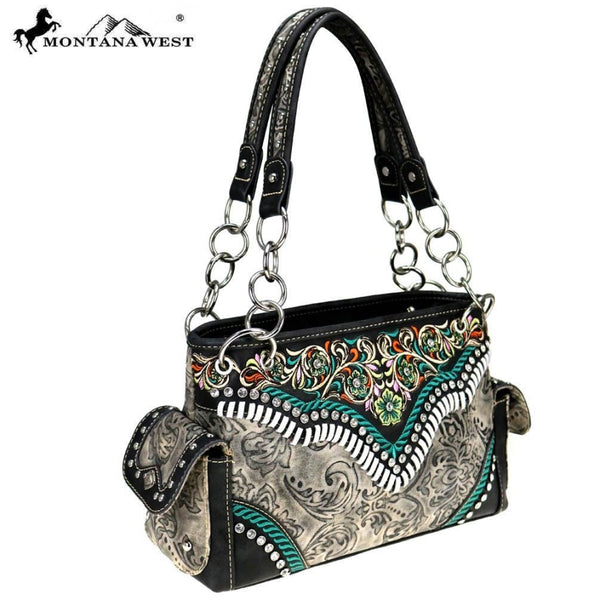 Montana West Embroidered Collection Satchel - Bags & Purses