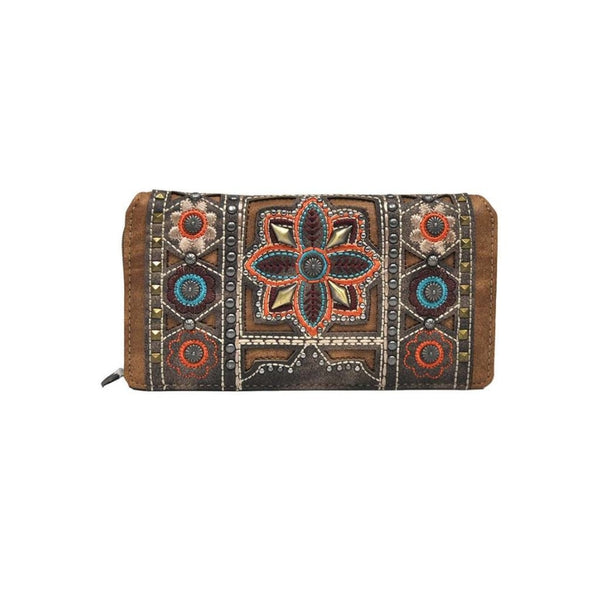 Montana West Embroidered Collection Secretary Style Wallet - Bags & Purses