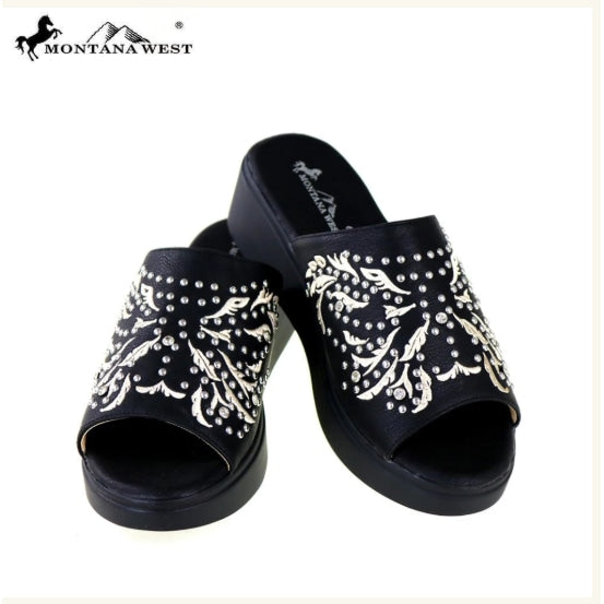 Montana West Embroidery Collection Western Wedge Sandal Collection - Womens Boots