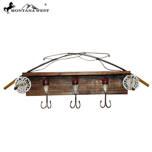 Montana West Fishing Rod Wood Coat Rack - Lifestyle