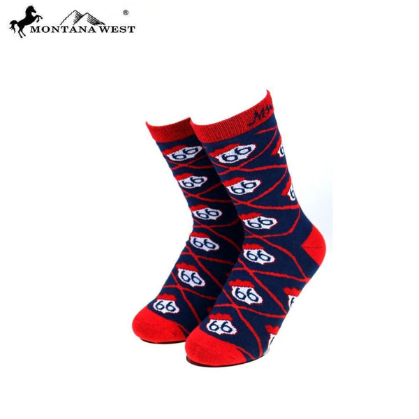 Montana West Route 66 Collection Sock Assorted Colour - Navy - Accessories