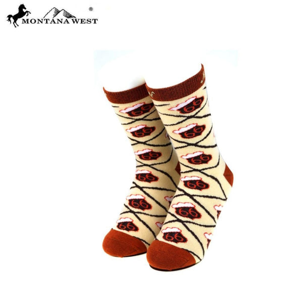 Montana West Route 66 Collection Sock Assorted Colour - Tan - Accessories