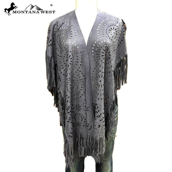 Montana West Suede-Feel Laser-Cut Geometric Design Poncho - Grey - Womens Tops