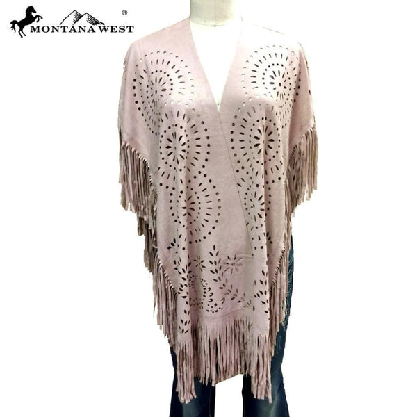 Montana West Suede-Feel Laser-Cut Geometric Design Poncho - Pink - Womens Tops