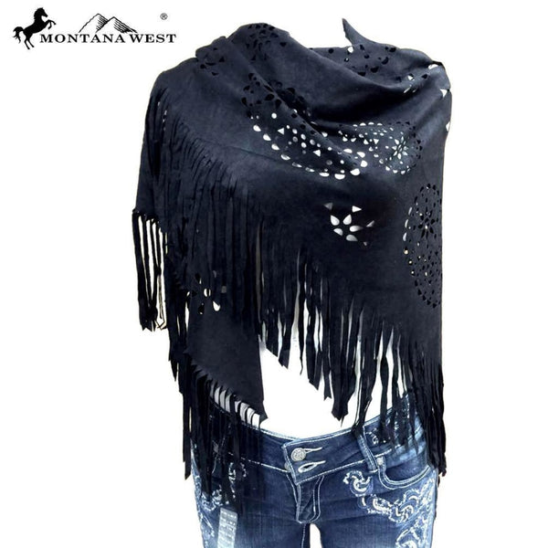 Montana West Suede-Feel Laser-Cut Geometric Design Shawl - Black - Accessories