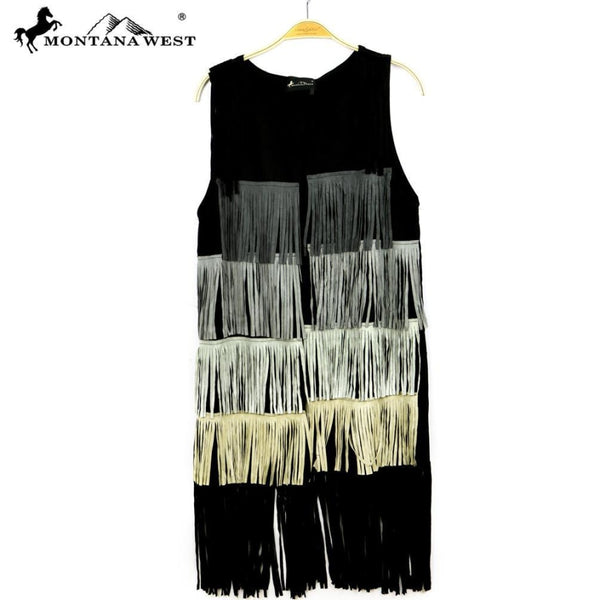 Montana West Suede-Like Fringe Long Vest - Womens Tops