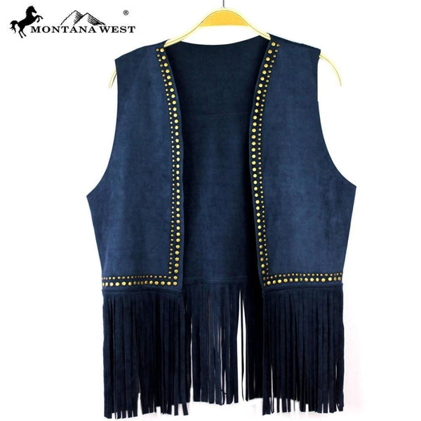 Montana West Suede-Like Fringe Vest In Navy - Womens Tops
