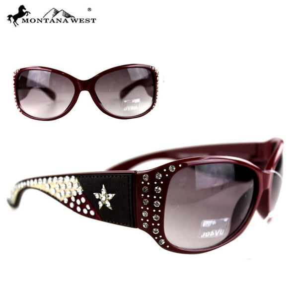 Montana West Texas Collection Sunglasses - Red - Womens Accessories