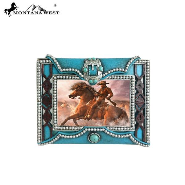 Montana West Texture Resin Photo Frame - Turquoise - Lifestyle