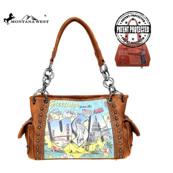Montana West Usa Collection Concealed Handgun Satchel In Brown - Bags & Purses