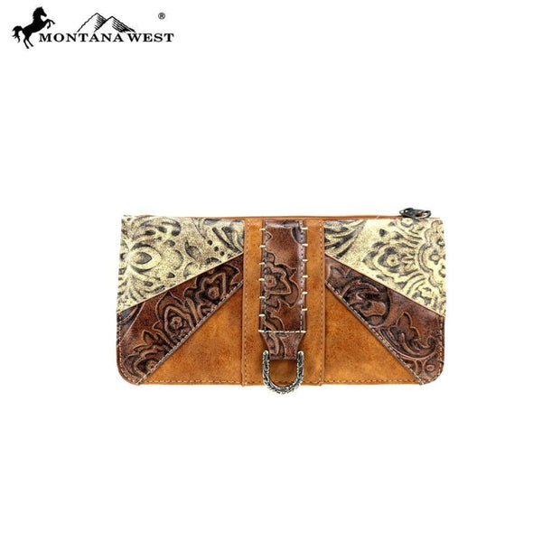 Montana West Western Embossed Collection Wallet In Brown - Bags & Purses