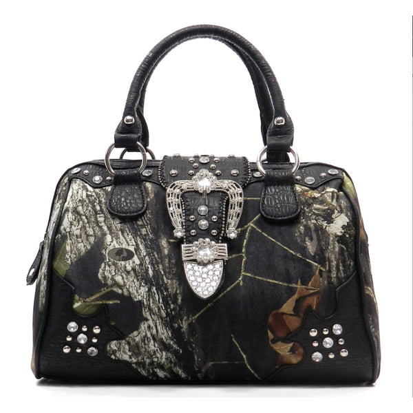 Mossy Oak Camouflage Print Buckle Decorative With Studs Handbag-Black - Bags & Purses