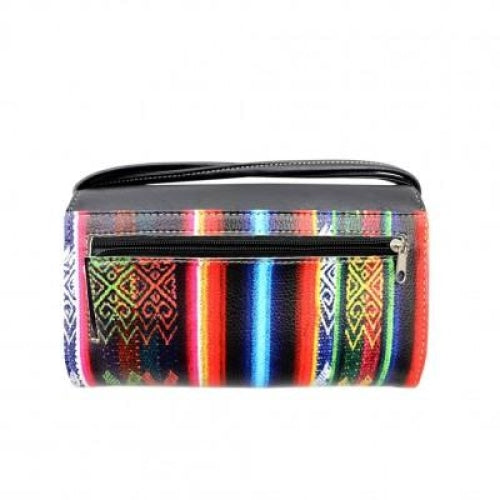 Multi Functional Western Aztec Trifold Clutch Crossbody Wallet - Bags