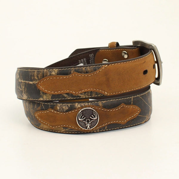 Nocona Mens Mossy Oak & Tan Deer Skull Concho Belt - Belts & Buckles