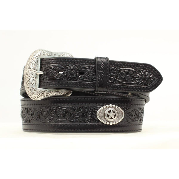 Nocona Western Belt Mens Floral Embossed Conchos Black - Belts & Buckles