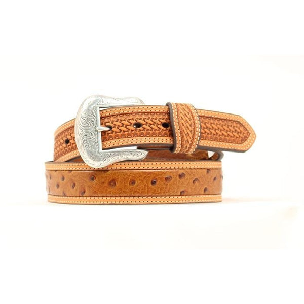 Nocona Western Belt Mens Leather Ostrich Inlay Honey Brown - 34 - Accessory