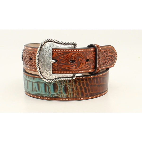 Nocona Western Mens Belt Leather Floral Croc Print Conchos Turquoise & Tan - Belts & Buckles