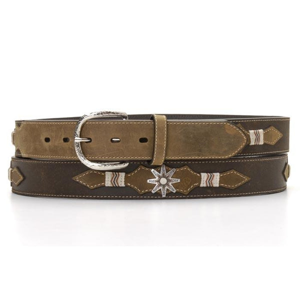 Nocona Western Mens Belt Overlay Trim Spur Rowel Concho Brown - Accessory