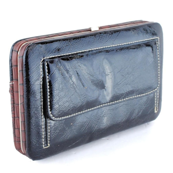 Patent Leather Cross Wallet-Black - Bags & Purses