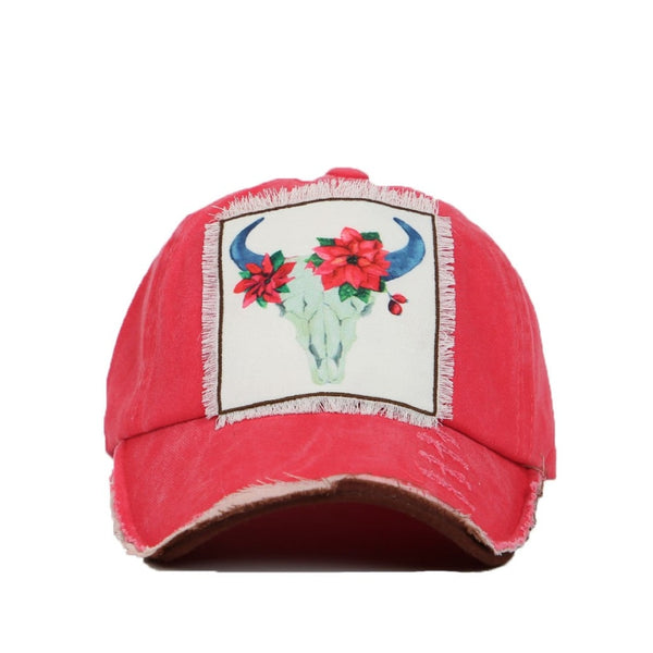 Poinsettia Bull Skull Patch On Distressed Bright Red Hat - Womens Hats