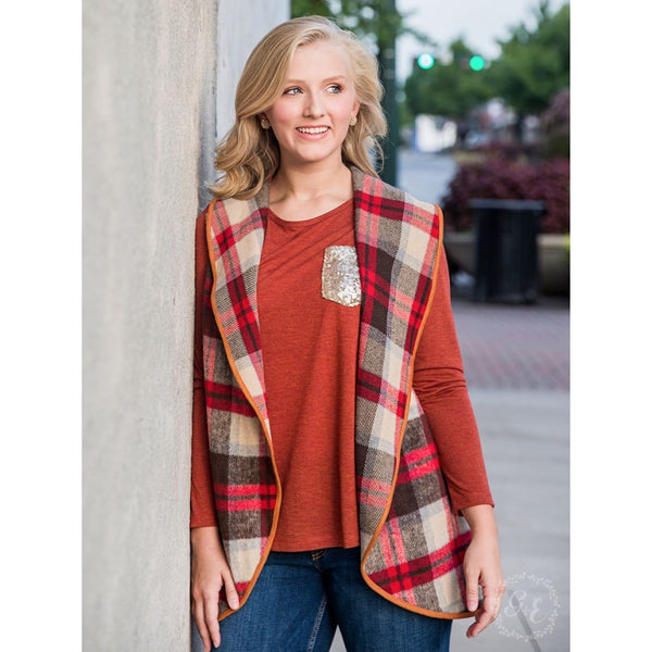 Reeses Fall Plaid Vest With Suede Trim - Womens Outerwear