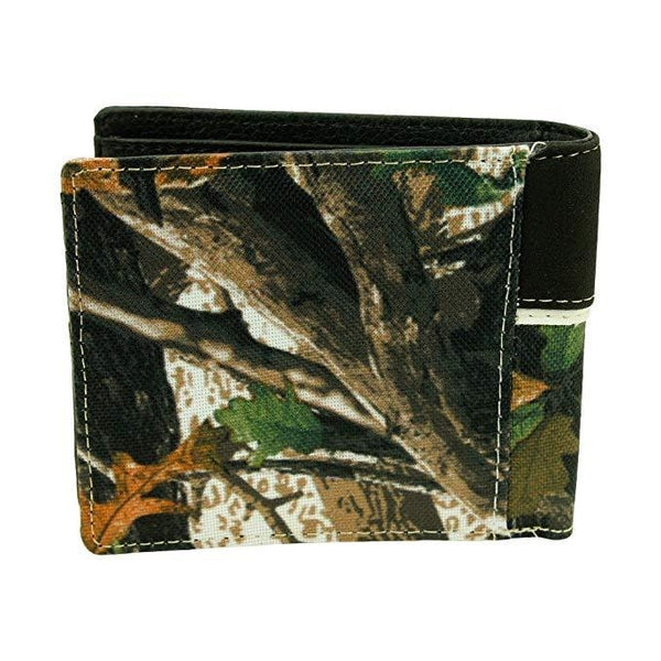 Ride Away Western Deer Skull Leather Bifold Wallet Camo Black - Wallets & Watches