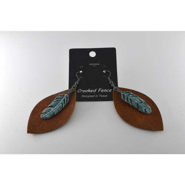 Saddle Tan Leaf Shape Leather Texture Earring With Petina Color Feather On Top - Jewellery