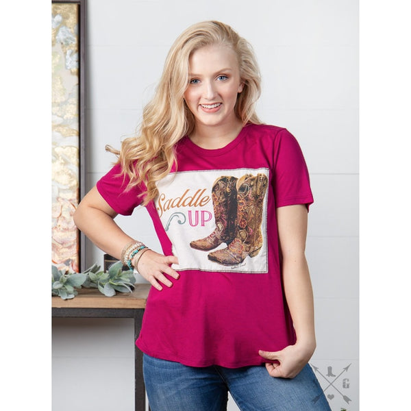 Saddle Up Patch On Magenta Crewneck Tee - Womens Tops