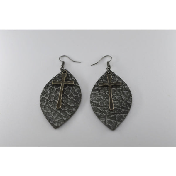 Silver Leaf Shape Leather Texture Earrings With Silver Cross On Top - Jewellery