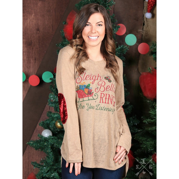 Sleigh Bells Ring On Brown With Red Velvet Patches - Womens Tops