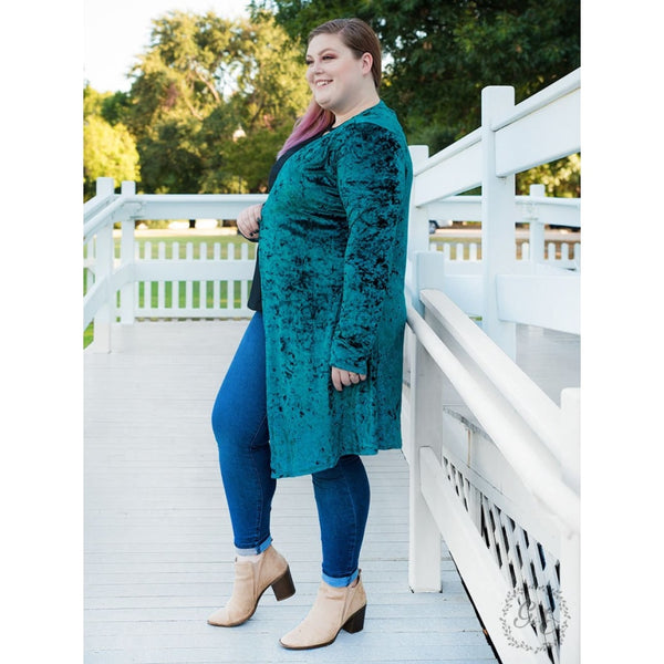 So Chic Velvet Kimono Teal - Womens Outerwear