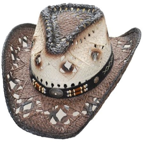 Straw Cowboy Hat - Pinch Front Dark Brown Brim - Small/medium - Accessories